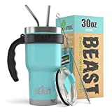 BEAST 30 oz Teal Blue Tumbler Set with Handle - Stainless Steel Coffee Cup + 2 Straws Brush, Gift Box & Black Handle