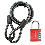 Lumintrail 12mm (1/2 inch) Heavy-Duty Security Cable, Vinyl Coated Braided Steel, with 1' Shackle Combination Padlock (Red, 4-ft)