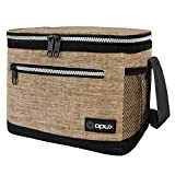 OPUX Lunch Box For Men, Insulated Lunch Bag Women, Shoulder Strap, Side Pockets | Soft Leakproof Lunch Pail for Boys, Kids, Girls | Taupe Lunch Cooler Tote for School Work Office| Fits 14 Cans