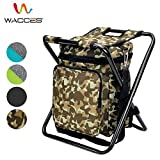Wacces Multi-Purpose Backpack Chair/Stool with Cooler Bag for Hiking/Fishing/Camping/Picnicking (Military)