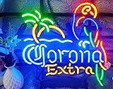 FINEON Corona Parrot Tree Real Glass Tube 17(w) insx13(h) ins Neon Sign Light for Beer Bar Pub Garage Room Bedroom Windows Gift Billboard