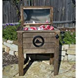 Lifoam 13654 Mountain Scene Rustic Outdoor Wooden Coolers Collection Single Wooden Cooler 57 Quarts