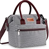 BALORAY Lunch Bags for Women Leakproof Insulated Crossbody Wide Open Lunch Bag Lunch Pail Adults lunch Box Lunch Cooler Bag for Women,Nurse,Teachers (Black White Strip)